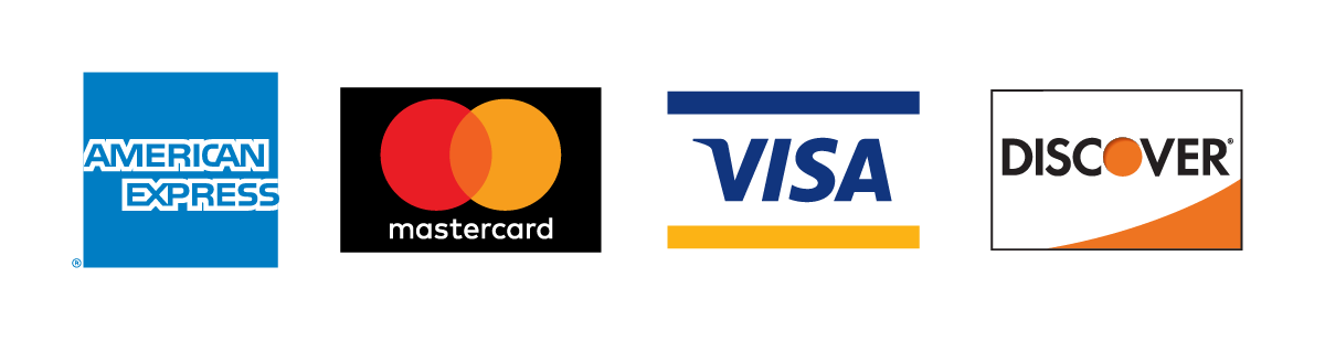 We accept American Express, VISA, MasterCard and Discover